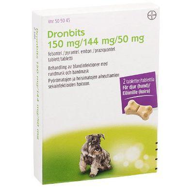 DRONBITS 150/144/50 mg vet tabl 2 fol